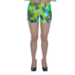 Abstract Watercolor Background Wallpaper Of Watercolor Splashes Green Hues Skinny Shorts