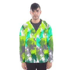 Abstract Watercolor Background Wallpaper Of Watercolor Splashes Green Hues Hooded Wind Breaker (men)