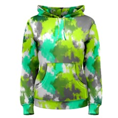 Abstract Watercolor Background Wallpaper Of Watercolor Splashes Green Hues Women s Pullover Hoodie