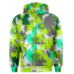 Abstract Watercolor Background Wallpaper Of Watercolor Splashes Green Hues Men s Zipper Hoodie