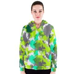 Abstract Watercolor Background Wallpaper Of Watercolor Splashes Green Hues Women s Zipper Hoodie