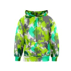 Abstract Watercolor Background Wallpaper Of Watercolor Splashes Green Hues Kids  Zipper Hoodie