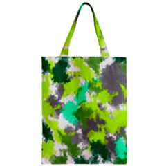 Abstract Watercolor Background Wallpaper Of Watercolor Splashes Green Hues Zipper Classic Tote Bag