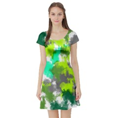 Abstract Watercolor Background Wallpaper Of Watercolor Splashes Green Hues Short Sleeve Skater Dress