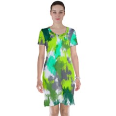 Abstract Watercolor Background Wallpaper Of Watercolor Splashes Green Hues Short Sleeve Nightdress