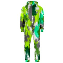Abstract Watercolor Background Wallpaper Of Watercolor Splashes Green Hues Hooded Jumpsuit (men)