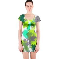 Abstract Watercolor Background Wallpaper Of Watercolor Splashes Green Hues Short Sleeve Bodycon Dress