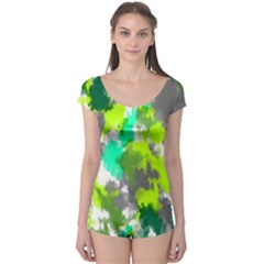 Abstract Watercolor Background Wallpaper Of Watercolor Splashes Green Hues Boyleg Leotard