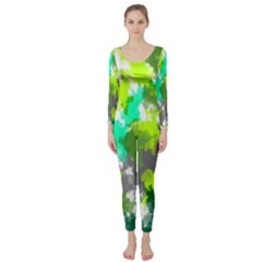 Abstract Watercolor Background Wallpaper Of Watercolor Splashes Green Hues Long Sleeve Catsuit