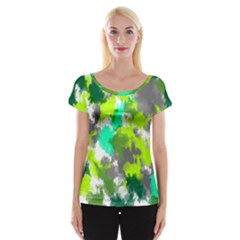 Abstract Watercolor Background Wallpaper Of Watercolor Splashes Green Hues Women s Cap Sleeve Top