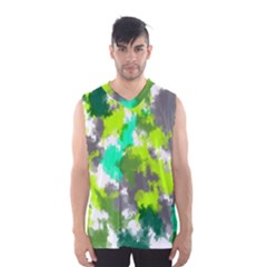 Abstract Watercolor Background Wallpaper Of Watercolor Splashes Green Hues Men s Basketball Tank Top