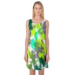 Abstract Watercolor Background Wallpaper Of Watercolor Splashes Green Hues Sleeveless Satin Nightdress
