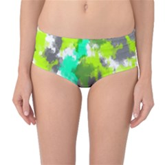 Abstract Watercolor Background Wallpaper Of Watercolor Splashes Green Hues Mid Waist Bikini Bottoms