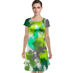 Abstract Watercolor Background Wallpaper Of Watercolor Splashes Green Hues Cap Sleeve Nightdress