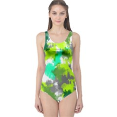 Abstract Watercolor Background Wallpaper Of Watercolor Splashes Green Hues One Piece Swimsuit