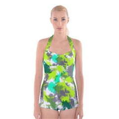 Abstract Watercolor Background Wallpaper Of Watercolor Splashes Green Hues Boyleg Halter Swimsuit