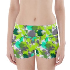 Abstract Watercolor Background Wallpaper Of Watercolor Splashes Green Hues Boyleg Bikini Wrap Bottoms