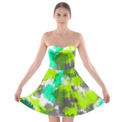 Abstract Watercolor Background Wallpaper Of Watercolor Splashes Green Hues Strapless Bra Top Dress