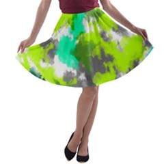 Abstract Watercolor Background Wallpaper Of Watercolor Splashes Green Hues A Line Skater Skirt