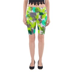 Abstract Watercolor Background Wallpaper Of Watercolor Splashes Green Hues Yoga Cropped Leggings