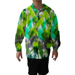 Abstract Watercolor Background Wallpaper Of Watercolor Splashes Green Hues Hooded Wind Breaker (Kids)
