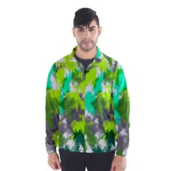 Abstract Watercolor Background Wallpaper Of Watercolor Splashes Green Hues Wind Breaker (Men)
