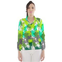 Abstract Watercolor Background Wallpaper Of Watercolor Splashes Green Hues Wind Breaker (Women)