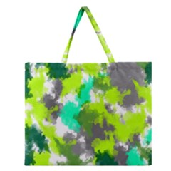 Abstract Watercolor Background Wallpaper Of Watercolor Splashes Green Hues Zipper Large Tote Bag