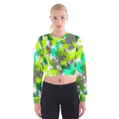 Abstract Watercolor Background Wallpaper Of Watercolor Splashes Green Hues Women s Cropped Sweatshirt