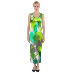 Abstract Watercolor Background Wallpaper Of Watercolor Splashes Green Hues Fitted Maxi Dress