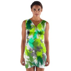 Abstract Watercolor Background Wallpaper Of Watercolor Splashes Green Hues Wrap Front Bodycon Dress