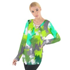 Abstract Watercolor Background Wallpaper Of Watercolor Splashes Green Hues Women s Tie Up Tee