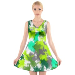 Abstract Watercolor Background Wallpaper Of Watercolor Splashes Green Hues V Neck Sleeveless Skater Dress