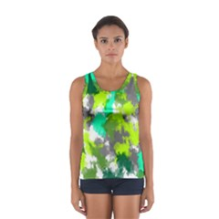 Abstract Watercolor Background Wallpaper Of Watercolor Splashes Green Hues Women s Sport Tank Top