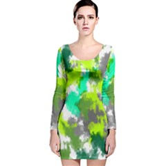 Abstract Watercolor Background Wallpaper Of Watercolor Splashes Green Hues Long Sleeve Velvet Bodycon Dress