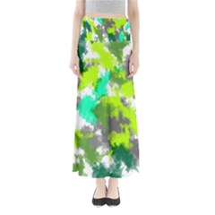 Abstract Watercolor Background Wallpaper Of Watercolor Splashes Green Hues Maxi Skirts
