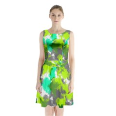 Abstract Watercolor Background Wallpaper Of Watercolor Splashes Green Hues Sleeveless Chiffon Waist Tie Dress