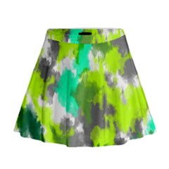 Abstract Watercolor Background Wallpaper Of Watercolor Splashes Green Hues Mini Flare Skirt