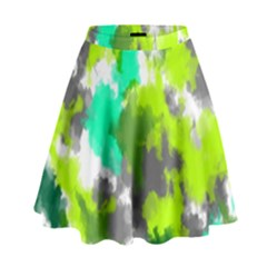 Abstract Watercolor Background Wallpaper Of Watercolor Splashes Green Hues High Waist Skirt