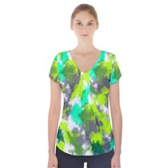 Abstract Watercolor Background Wallpaper Of Watercolor Splashes Green Hues Short Sleeve Front Detail Top