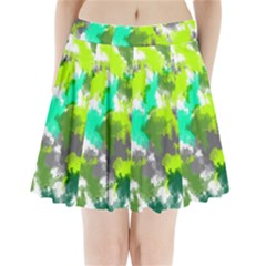 Abstract Watercolor Background Wallpaper Of Watercolor Splashes Green Hues Pleated Mini Skirt