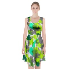 Abstract Watercolor Background Wallpaper Of Watercolor Splashes Green Hues Racerback Midi Dress