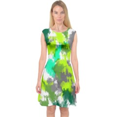 Abstract Watercolor Background Wallpaper Of Watercolor Splashes Green Hues Capsleeve Midi Dress