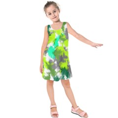 Abstract Watercolor Background Wallpaper Of Watercolor Splashes Green Hues Kids  Sleeveless Dress