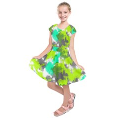 Abstract Watercolor Background Wallpaper Of Watercolor Splashes Green Hues Kids  Short Sleeve Dress