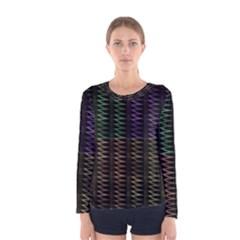 Multicolor Pattern Digital Computer Graphic Women s Long Sleeve Tee