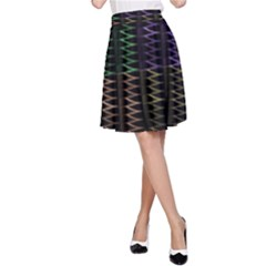 Multicolor Pattern Digital Computer Graphic A Line Skirt