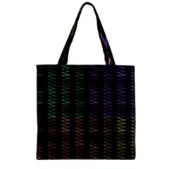 Multicolor Pattern Digital Computer Graphic Zipper Grocery Tote Bag