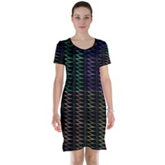 Multicolor Pattern Digital Computer Graphic Short Sleeve Nightdress