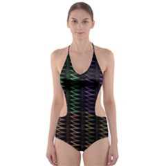 Multicolor Pattern Digital Computer Graphic Cut Out One Piece Swimsuit